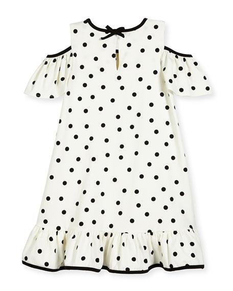girls' cold-shoulder polka-dot dress, white/black, size 2-6