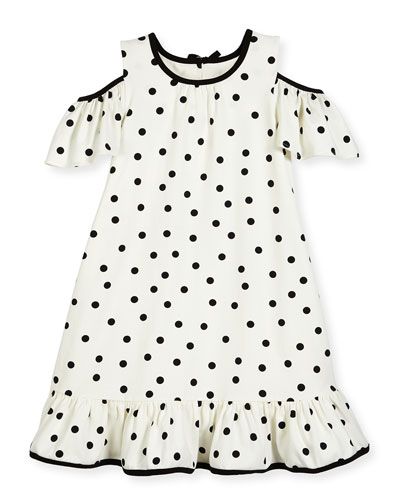 girls' cold-shoulder polka-dot dress, white/black, size 2-6