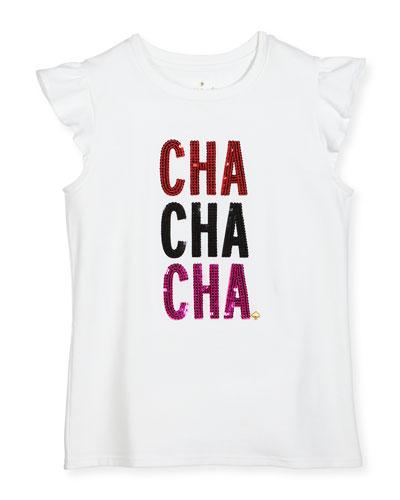girls' cha cha cha tee, white, size 7-14