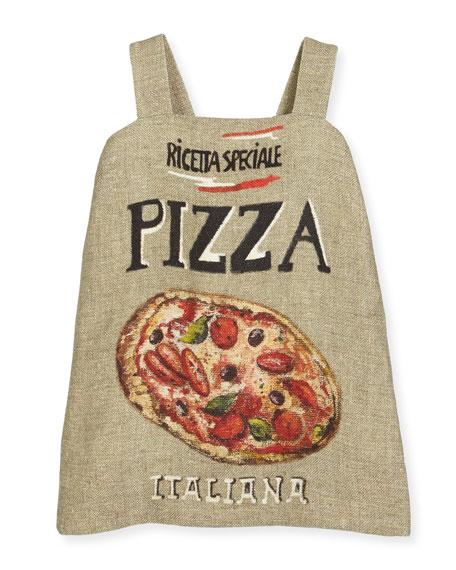 Sleeveless Pizza-Print Dress, Multi, Size 4-6