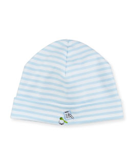 Mini Golf Striped Baby Hat, Light Blue