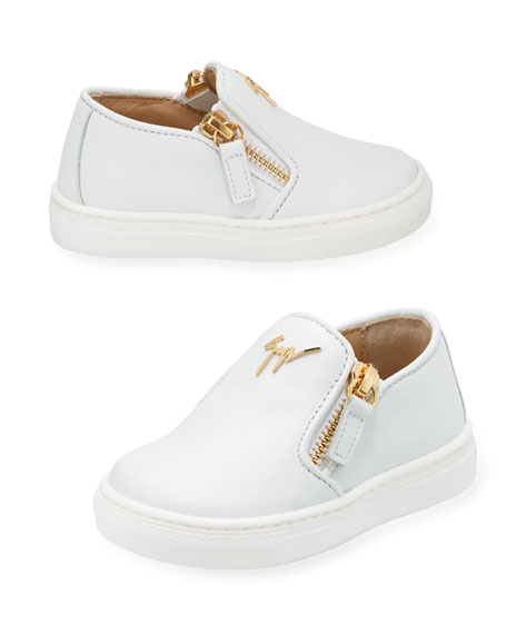 Girls' London Laceless Leather Low-Top Sneaker, Infant/Toddler Sizes 6M-9T, White