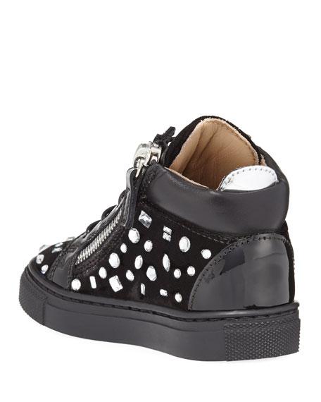 Girls' London Velvet & Crystal Mid-Top Sneaker, Infant/Toddler