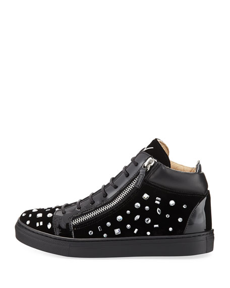 Girls' London Velvet & Crystal Mid-Top Sneaker, Youth