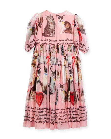 Chiffon Cat-Print Dress, Size 8-10