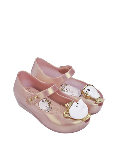 Ultragirl Beauty and the Beast® Mary Jane Flat, Pink Metallic, Toddler