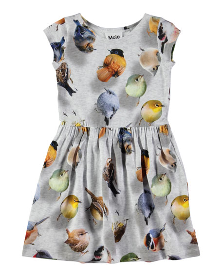 Molo Carla Bouncing Birds Jersey Dress, Gray, Size