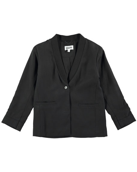 Harmoney Shawl-Collar Jersey Blazer, Black, Size 4-14