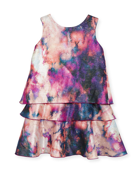 Watercolor Tiered Shimmer Dress, Size 4-6X