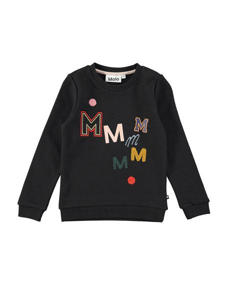 Mara Black Bean Crewneck Sweatshirt, Black, Size 4-14
