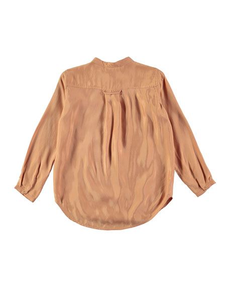 Rafa Velvet Rose Long-Sleeve Blouse, Pink, Size 3T-14