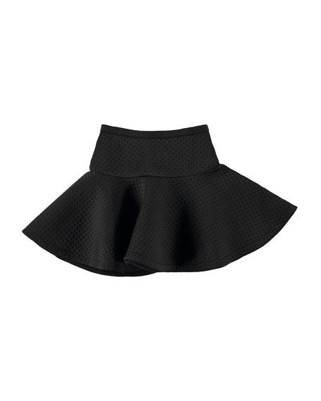 Britani Perforated Scuba Circle Skirt, Black, Size 3T-14