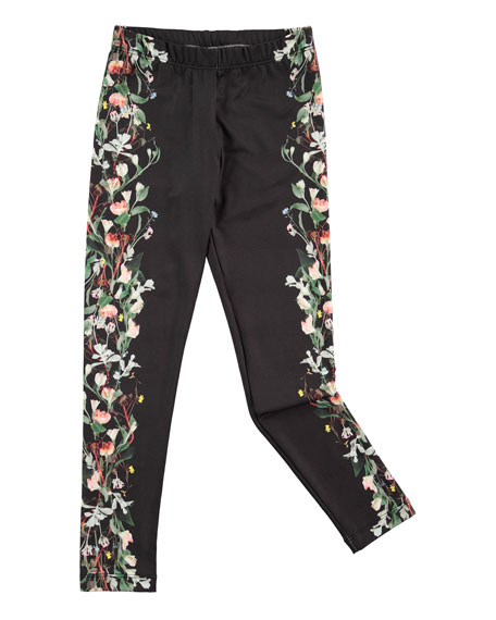 Nikia Digi Flower Stripe Leggings, Black, Size 3-14