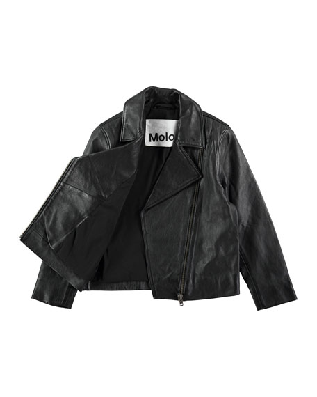 Hazel Leather Moto Jacket, Black, Size 4-14