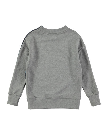 Marty Rollercoaster Placed Sweatshirt, Gray, Size 4-12