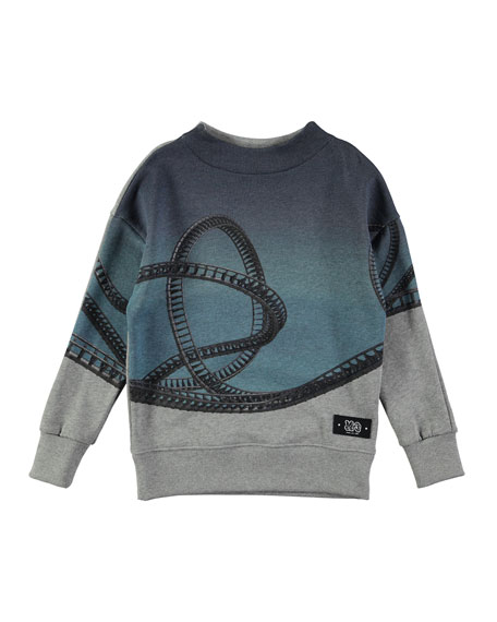 Molo Marty Rollercoaster Placed Sweatshirt, Gray, Size 4-12