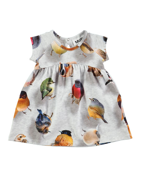 Molo Cille Bouncing Birds Jersey Dress, Gray, Size