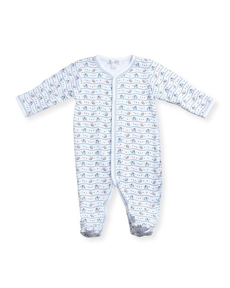 Kissy Kissy First Down Football Print Footie Pajamas,