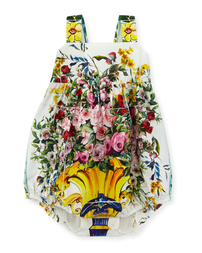 Floral Vase Bubble Playsuit, White/Multicolor, Size 3-18 Months