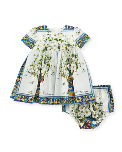 Short-Sleeve Flower Vase Dress w/ Bloomers, Size 12-36 Months