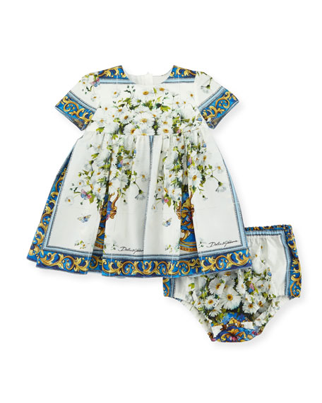 Short-Sleeve Flower Vase Dress w/ Bloomers, Size 12-36 Months