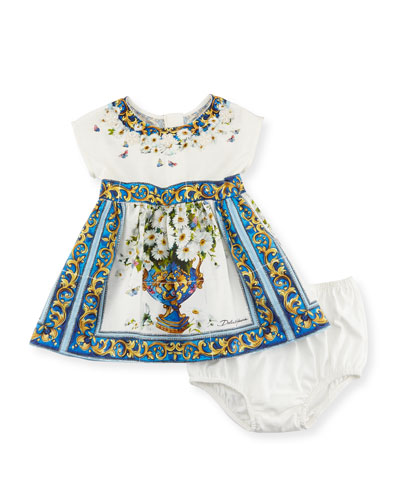 Majolica Tile and Floral Print Dress w/ Bloomers, White Pattern, Size 12-36 Months