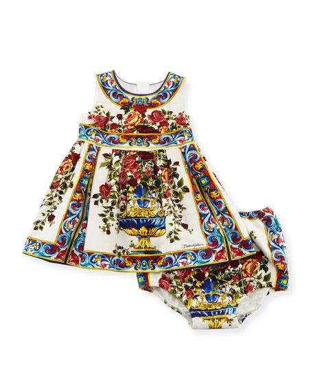 bc48c4c39 Dolce & Gabbana Caltagir Flower Vase Shift Dress w/ Bloomers, Size 12-24  Months