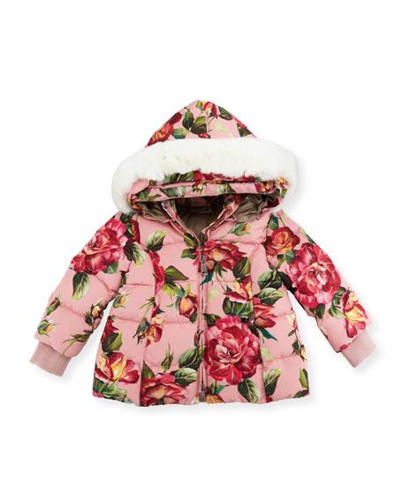 Quilted Rose-Print Parka w/Rabbit Fur Hood, Size 18-24 Months