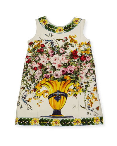 Floral Vase Print Jersey Dress, Size 8-12