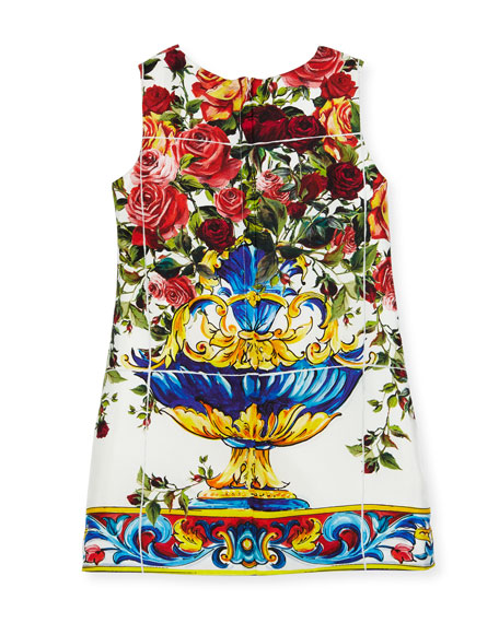 Sleeveless Maiolica-Print Dress, White Pattern, Size 8-12