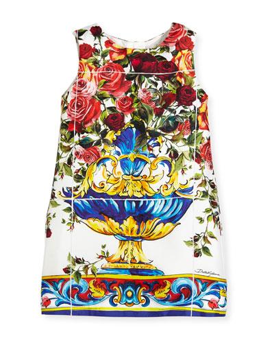Sleeveless Maiolica-Print Dress, Size 4-6