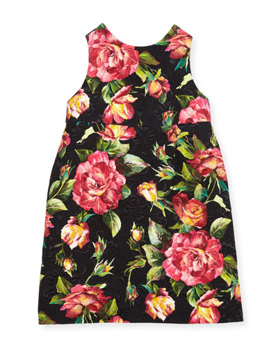Floral Rose Brocade Dress, Black Pattern, Size 4-6