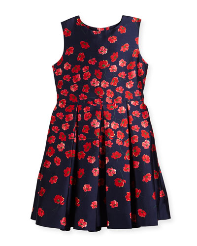 Degrade Poppies Mikado Party Dress, Size 2-14