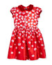 Oscar de la Renta Degrade Pansy-Print Dress, Red,