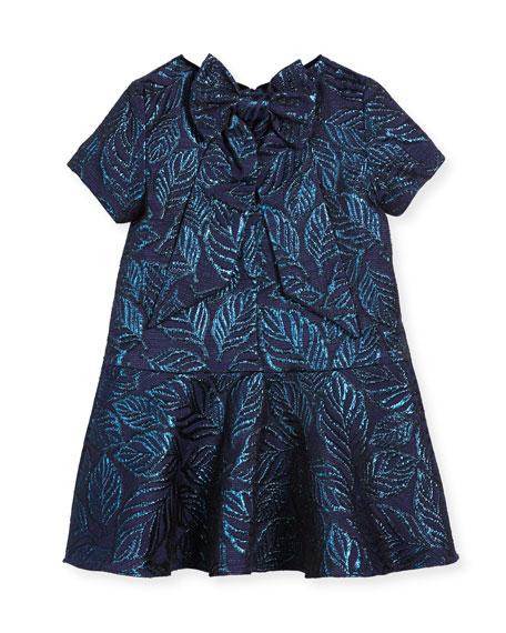 Jacquard Bow-Back Dress, Navy, Size 4-10