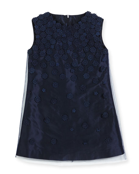 Sleeveless Guipure Flower Party Dress, Navy, Size 8-14