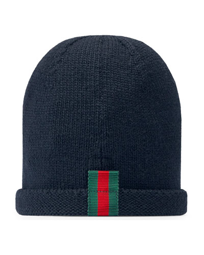 Kids' Knit Web Trim Beanie Hat, Navy