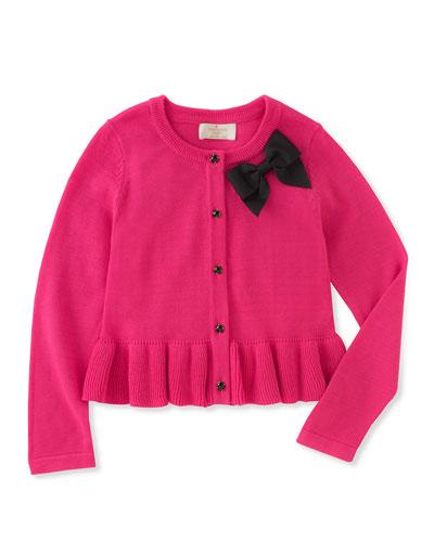 peplum bow cardigan, size 7-14
