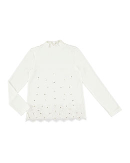 Studded Turtleneck Lace Blouse, Size 8-16