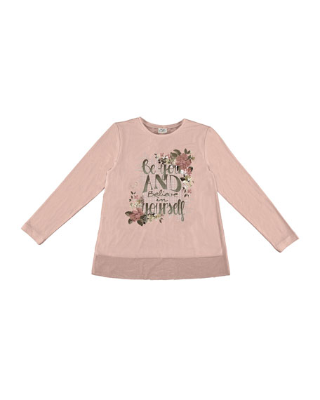 Floral and Sequin Graphic Tee, Light Pink, Size 8-16