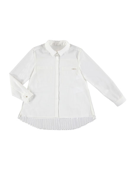 MAYORAL Long-Sleeve Pleated Blouse, Size 8-16