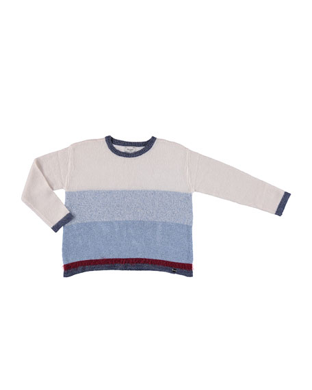 Striped Knit Sweater, Multi, Size 8-16