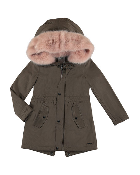 Faux Fur Hooded Jacket, Brown, Size 8-16