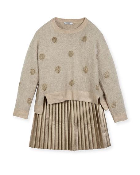 MAYORAL Metallic Polka-Dot Sweaterdress, Size 8-16