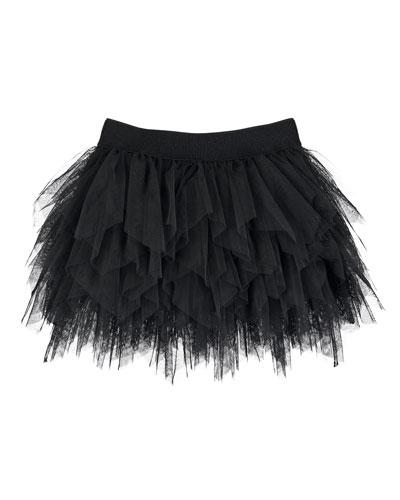 Ruffle Tulle Skirt, Black, Size 8-16