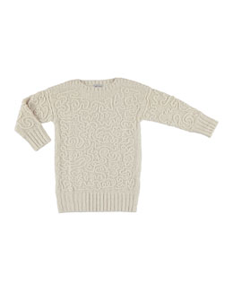 Tricot Knit Abstract Sweaterdress, White, Size 8-16