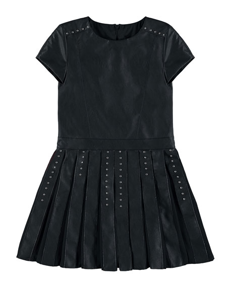 Faux-Leather Studded Dress, Black, Size 8-16