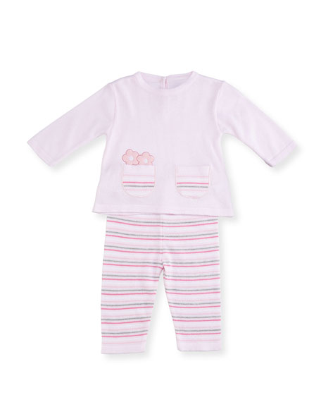 Knit Flower Top w/ Striped Pants, Size 3-12 Months