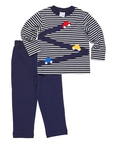 Stripe Knit Car T-Shirt w/ French Terry Pants, Size 9-24 Months