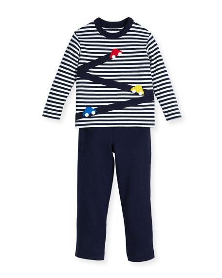 d0a56168a Florence Eiseman Stripe Knit Car T-Shirt w/ French Terry Pants, Size 2-4